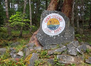 Sign for Golf Island Disc Park, Pender Island BC