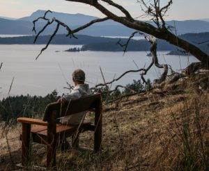Enjoying view of the Salish Sea from George Hill, Pender Island BC