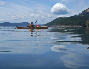 Kayaking on the tranquil Salish Sea, Gulf Islands BC