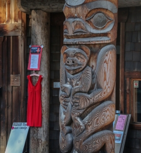 Mother Bear Totem on Red Dress Day at Community Hall, Pender Island.